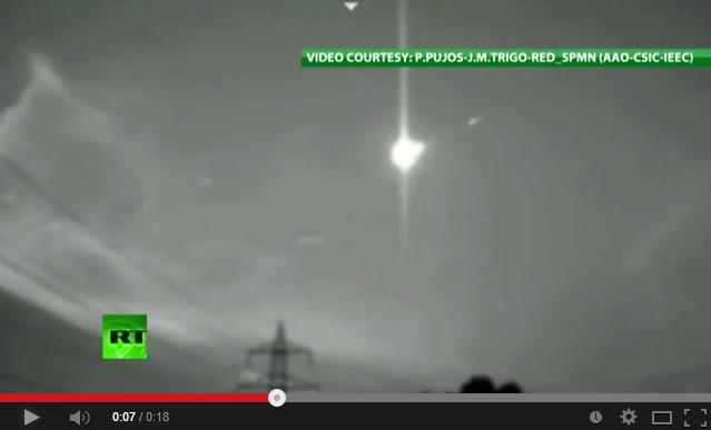 Метеорит пролетел в небе над Испанией