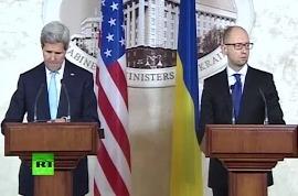 Яценюк и Керри вновь опять Россию во вторжении на Украину