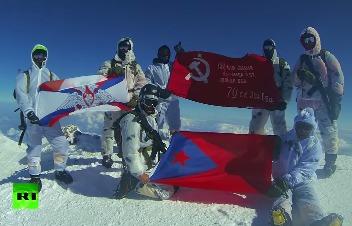 Знамя Победы на Эльбрусе (видео, фото)