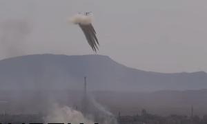 Ка-52 атакует позиции боевиков ИГИЛ в Сирии