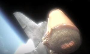 Видео снятое с твердотопливных ускорителей Шаттла