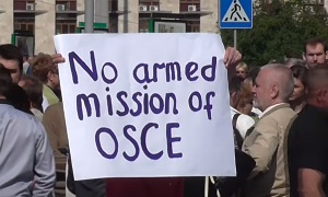 Донецк: Митинг против вооруженной миссии ОБСЕ на Донбассе