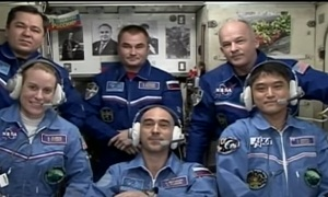 Видеоконференция нового экипажа на МКС