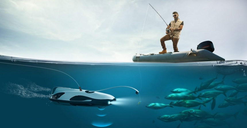 PowerRay — подводный дрон рыбак с камерой 4K.
