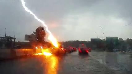 Молния ударила в автомобиль на новосибирской трассе
