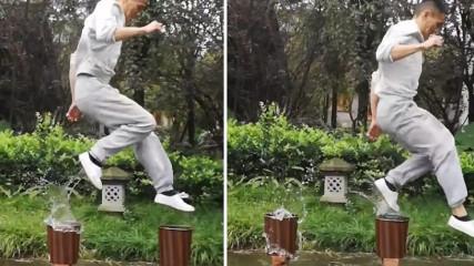 Прыжок мастера кунг-фу Сяо Цян (Xiao Qiang)